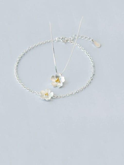Rosh 925 Sterling Silver Flower Minimalist Necklace
