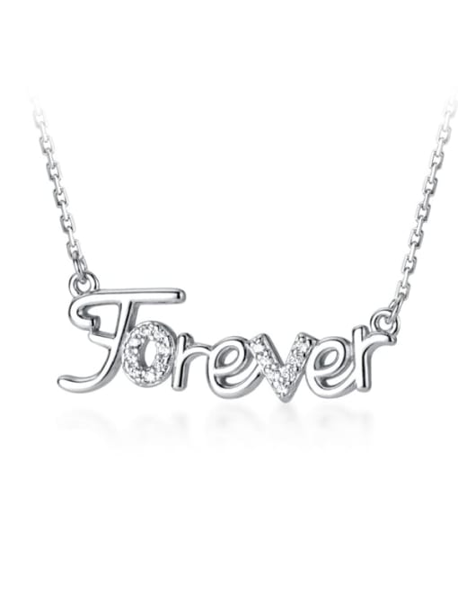 Rosh 925 Sterling Silver Rhinestone White Letter Cute Necklace