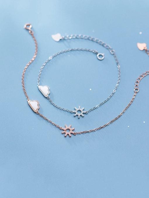 Rosh 925 Sterling Silver Cubic Zirconia Flower Minimalist Link Bracelet 0