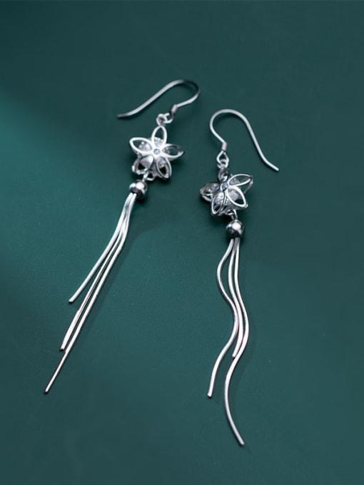 Rosh 925 Sterling Silver Cubic Zirconia White Tassel Minimalist Threader Earring 0