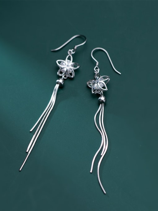 Rosh 925 Sterling Silver Cubic Zirconia White Tassel Minimalist Threader Earring