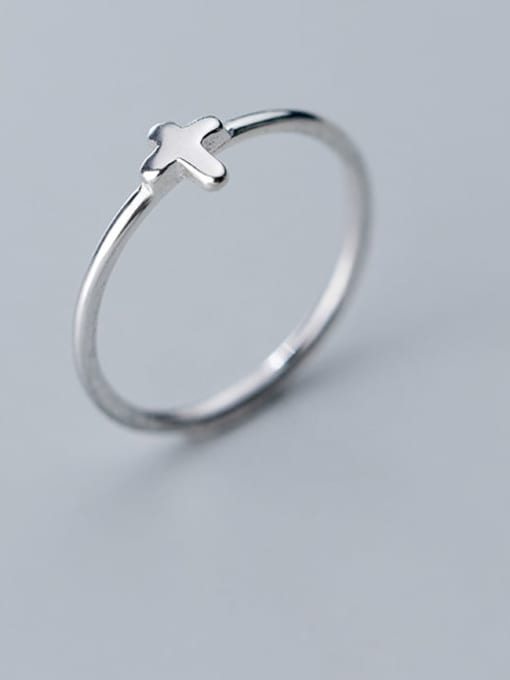 Rosh 925 Sterling Silver Smooth Cross Minimalist Free size Ring 1