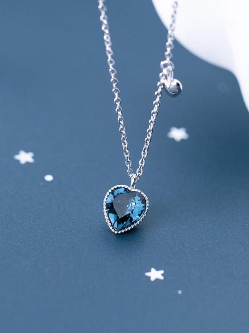 Rosh 925 Sterling Silver Blue Swarovski Crystal Heart-shaped pendant  Necklace 1