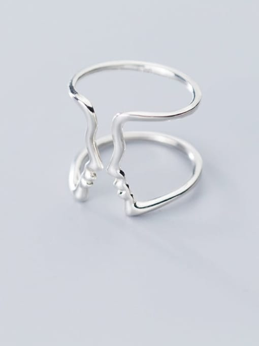 Rosh 925 Sterling Silver  Hollow Geometric Minimalist Free Size Ring 1