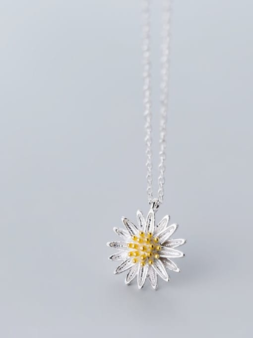 Rosh 925 Sterling Silver Simple flower pendant Necklace