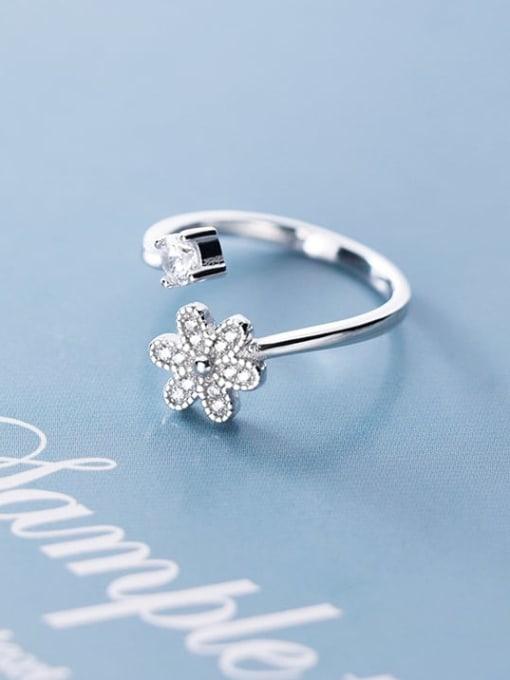Rosh 925 sterling silver cubic zirconia  flower minimalist free size ring 1