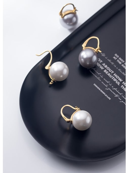 Rosh 925 Sterling Silver Imitation Pearl Round Ball Minimalist Stud Earring 1