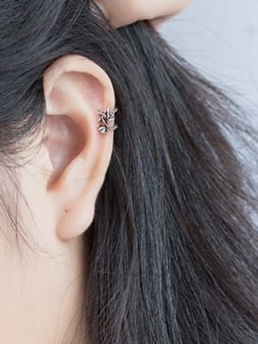 Rosh 925 Sterling Silver Retro thread double layer Pentagram Ear clip without pierced ears 1
