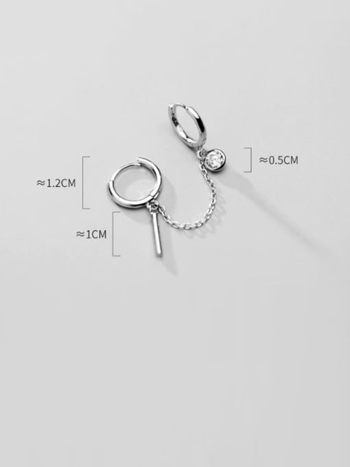 Rosh 925 Sterling Silver Tassel Minimalist Huggie Earring 1