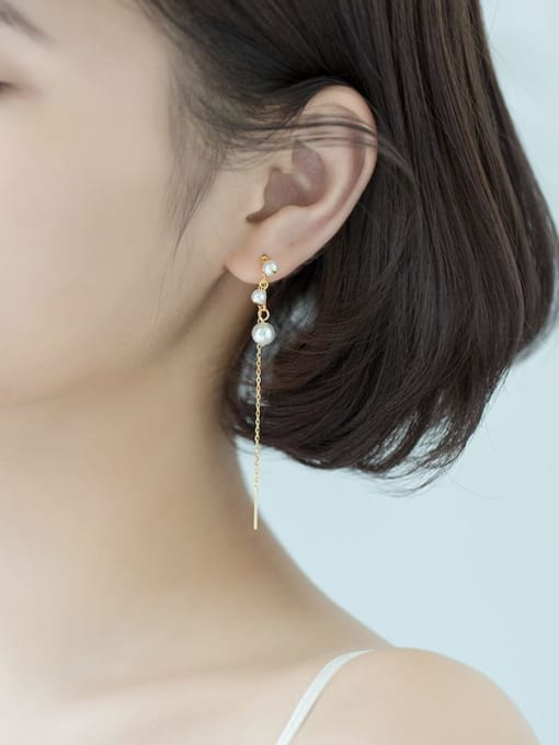 Rosh 925 Sterling Silver Imitation Pearl White Tassel Trend Threader Earring 1
