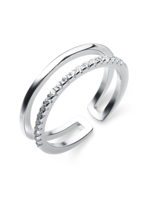 Rosh 925 Sterling Silver Rhinestone White Irregular Minimalist Free Size Band Ring 3