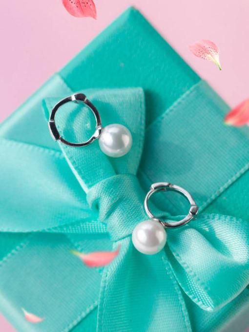 Rosh 925 Sterling Silver Imitation Pearl Round Minimalist Huggie Earring 1