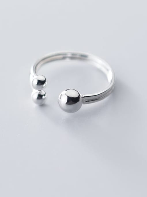 Rosh 925 sterling silver bead  ball minimalist free size ring 2
