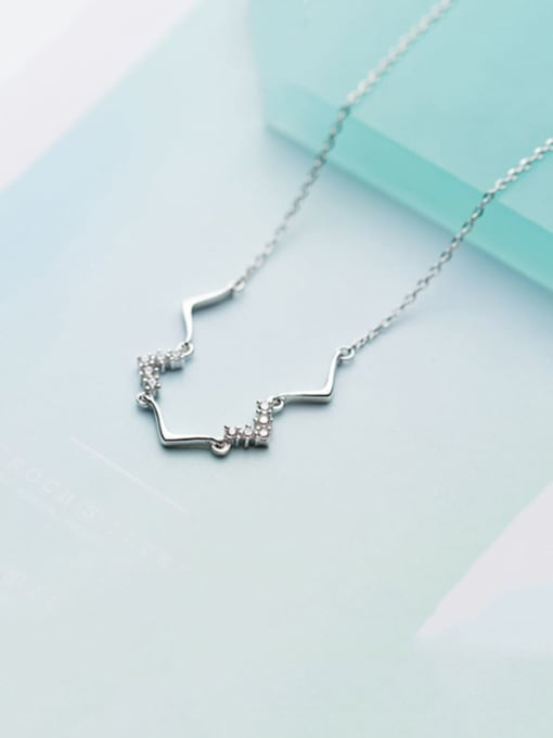 Rosh 925 Sterling Silver Cubic Zirconia Simple V-shaped pendant Necklace 0