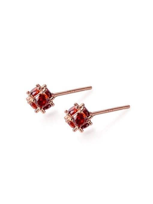 Rosh 925 Sterling Silver Cubic Zirconia Red Irregular Minimalist Stud Earring
