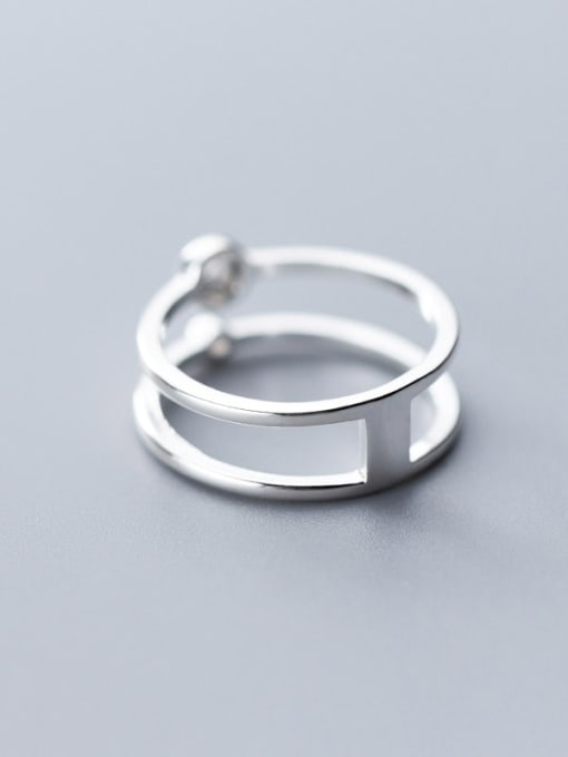 Rosh 925 Sterling Silver Double layer  Round Minimalist Band Ring 1