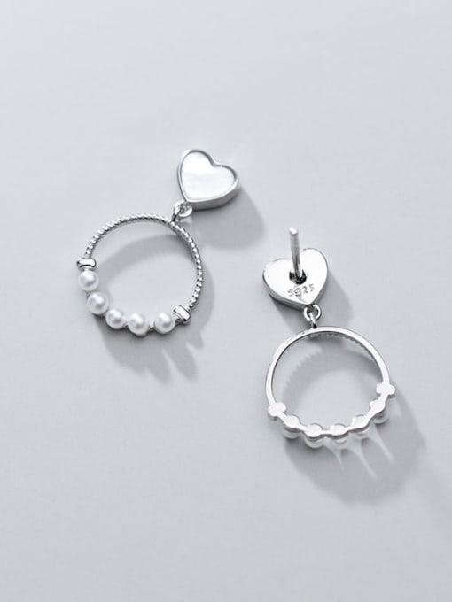 Rosh 925 Sterling Silver Imitation Pearl  Heart Round Trend Drop Earring 2