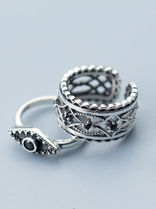 Rosh 925 Sterling Silver Punk style carved black diamond Hollow Pattern Free Size Ring 1