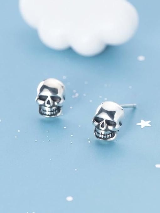 Rosh 925 Sterling Silver Skull Vintage Stud Earring 1