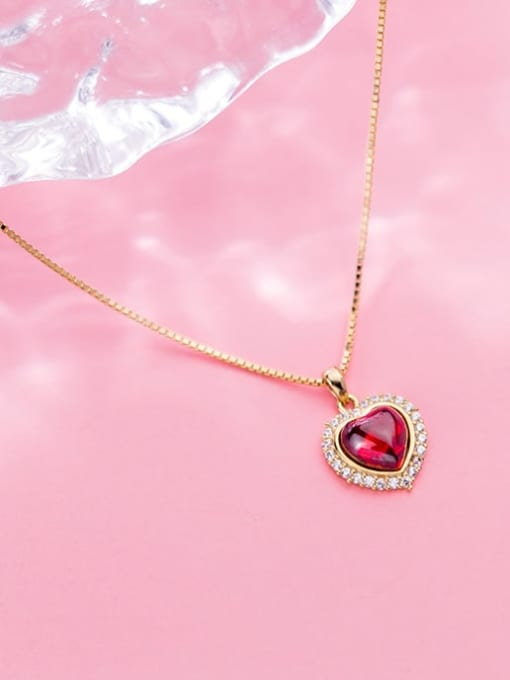 Rosh 925 Sterling Silver Synthetic Red Agate Heart Shaped Diamond Necklace 2