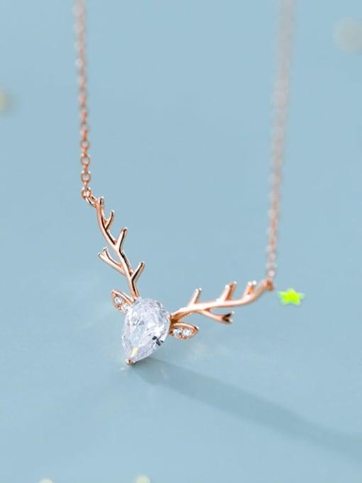 Rosh 925 Sterling Silver  Minimalist  Elk pattern horn pendant Necklace 1