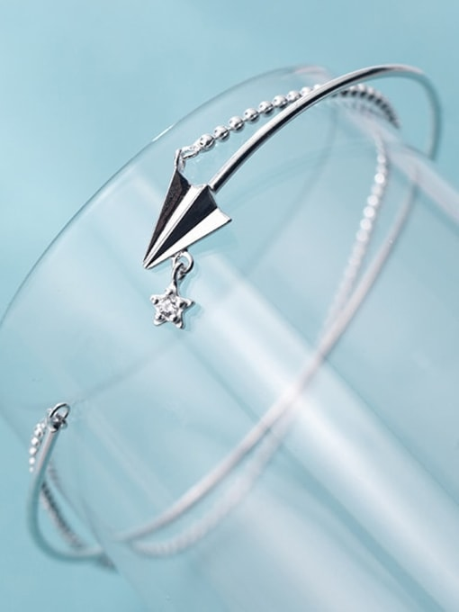 Rosh 925 Sterling Silver Minimalist  Paper plane double layer small silver beads Strand Bracelet 3
