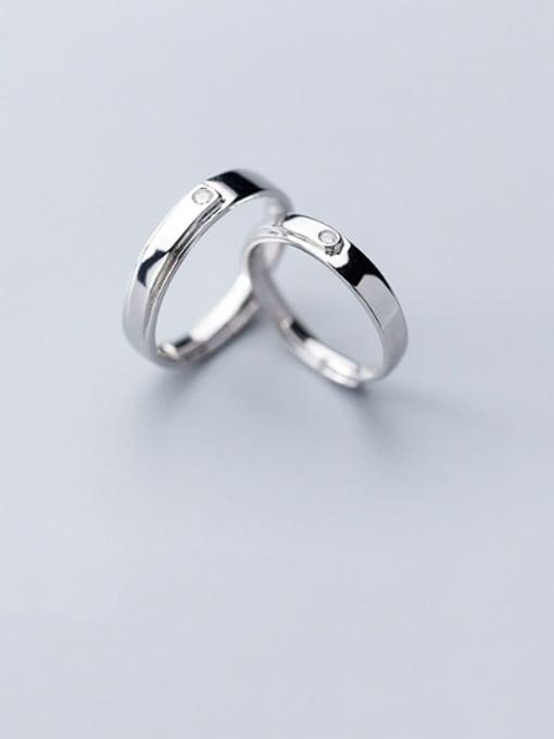 Rosh 925 Sterling Silver Rhinestone Minimalist  Round Free Size Couple Ring 0