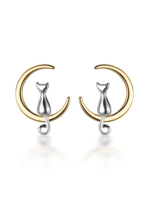 Rosh 925 Sterling Silver Cat Moon Minimalist Stud Earring
