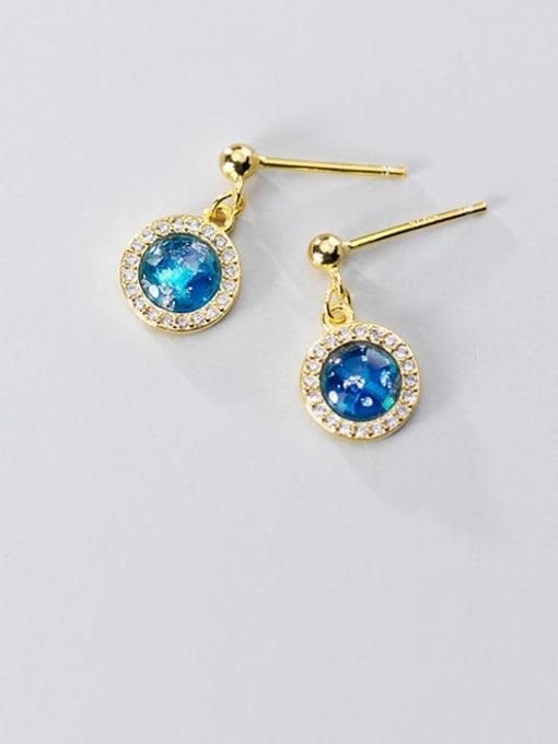 Rosh 925 Sterling Silver Cubic Zirconia Blue Geometric Minimalist Stud Earring 1