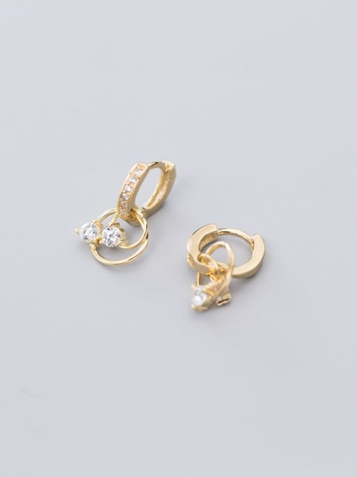 Rosh 925 Sterling Silver Cubic Zirconia Round Classic Huggie Earring 3