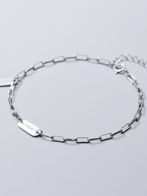 Rosh 925 Sterling Silver Simple square brand letters LUCKY chain bracelet