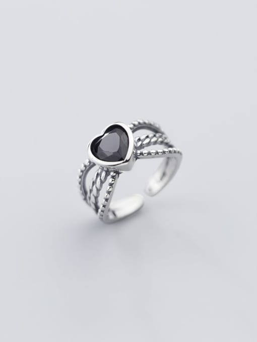Rosh 925 Sterling Silver Acrylic Black Heart Vintage Free Size Ring