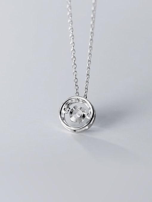 Rosh 925 Sterling Silver Cubic Zirconia Simple hollow round pendant  Necklace 3