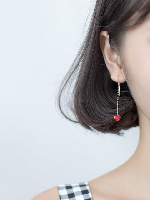 Rosh 925 Sterling Silver Rhinestone Red Heart Minimalist Threader Earring 2