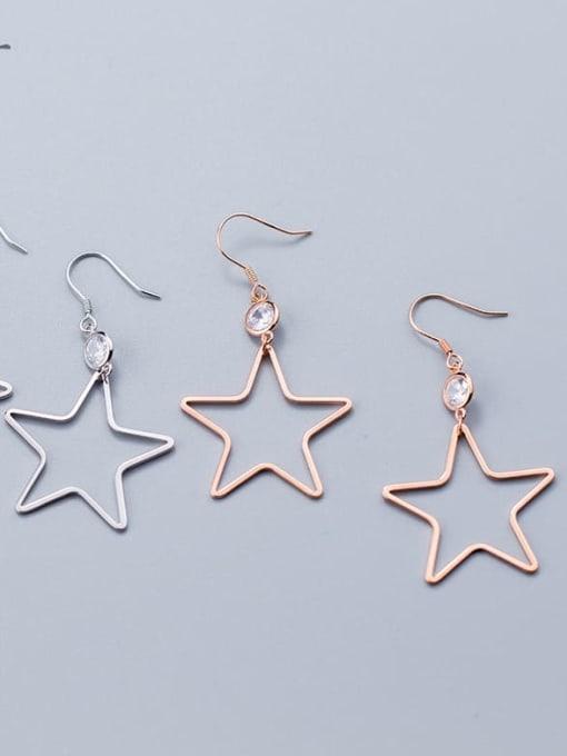 Rosh 925 Sterling Silver  Hollow Star Minimalist Hook Earring 0