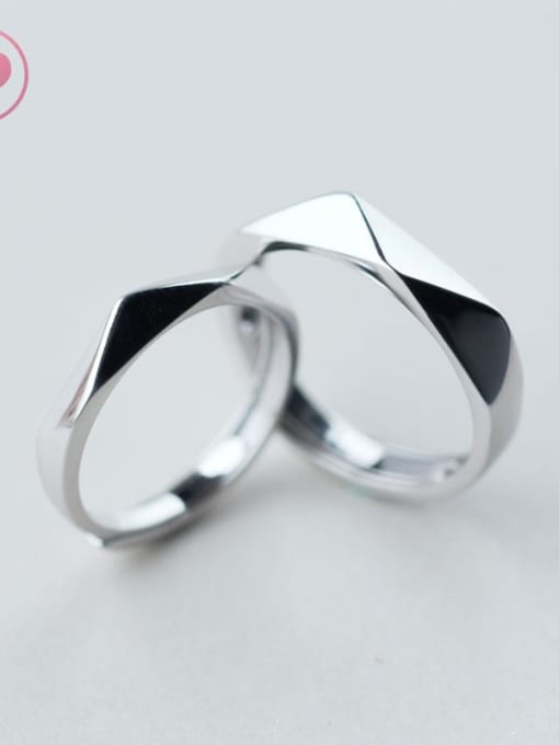 Rosh 925 Sterling Silver Smooth Geometric Minimalist Couple Ring 0