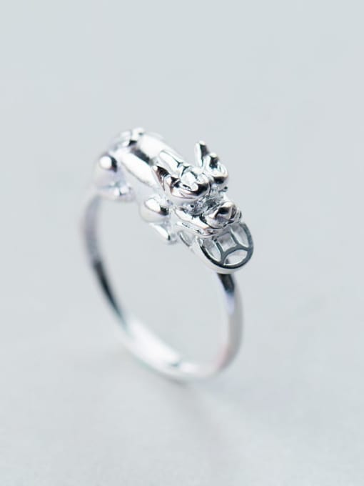 Rosh 925 Sterling Silver Minimalist brave troops  Free Size Ring 1