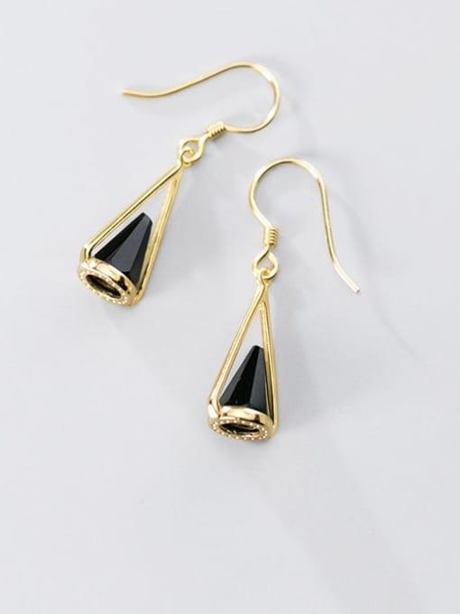 Rosh 925 Sterling Silver Black Acrylic Geometric Cone Trend Hook Earring 1