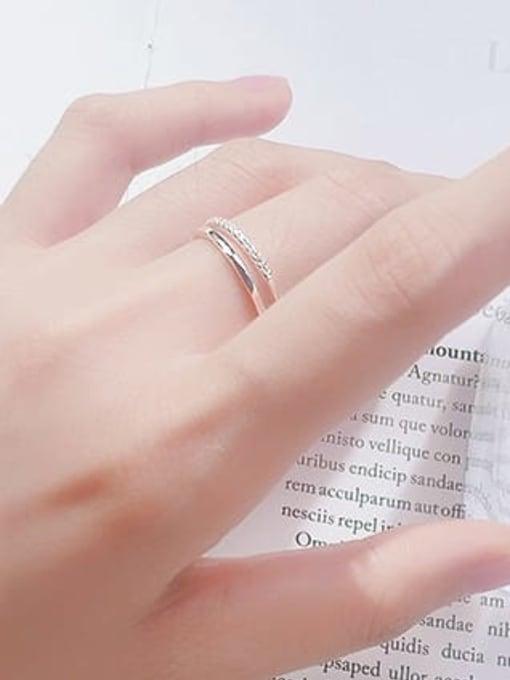 Rosh 925 Sterling Silver Rhinestone White Irregular Minimalist Free Size Band Ring 1