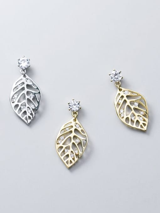 Rosh 925 Sterling Silver Rhinestone Hollow Leaf Minimalist Drop Earring 3