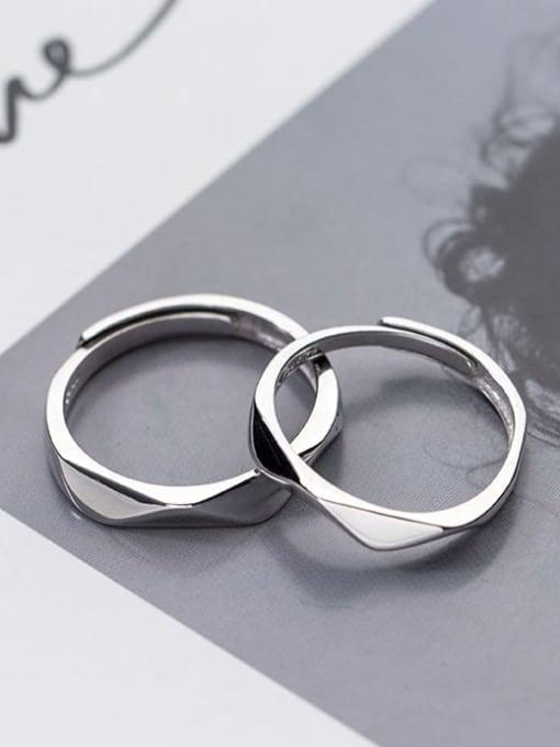 Rosh 925 Sterling Silver Geometric Minimalist Couple Ring 1