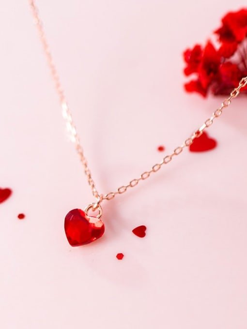 Rosh 925 Sterling Silver Red Heart Minimalist Necklace
