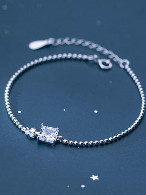 Rosh 925 Sterling Silver Cubic Zirconia White Square Minimalist Beaded Bracelet 0