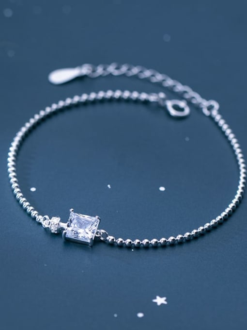 Rosh 925 Sterling Silver Cubic Zirconia White Square Minimalist Beaded Bracelet