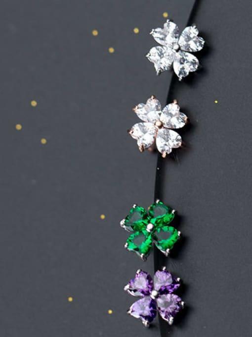 Rosh 925 Sterling Silver Cubic Zirconia Multi Color Flower Minimalist Stud Earring