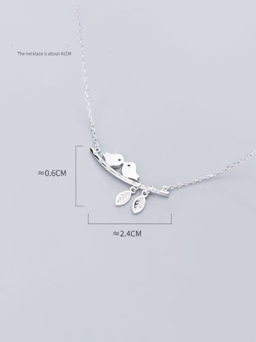 Rosh 925 Sterling Silver Cute twig bird Necklace 3