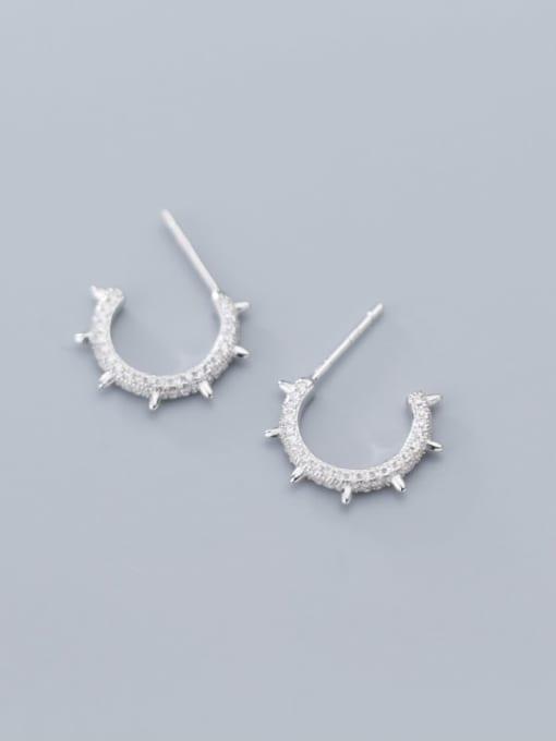 Rosh 925 Sterling Silver Cubic Zirconia  Round Minimalist Stud Earring 3