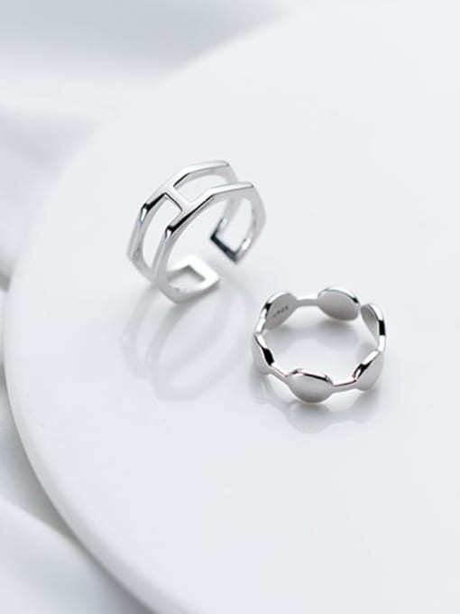 Rosh 925 Sterling Silver Minimalist  Double Layer Free Size Ring 3