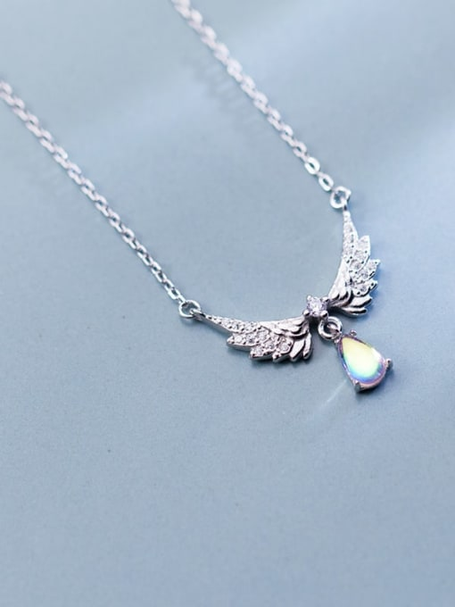 Rosh 925 Sterling Silver Fashion Wings  Water Drop  Pendant  Necklace 2