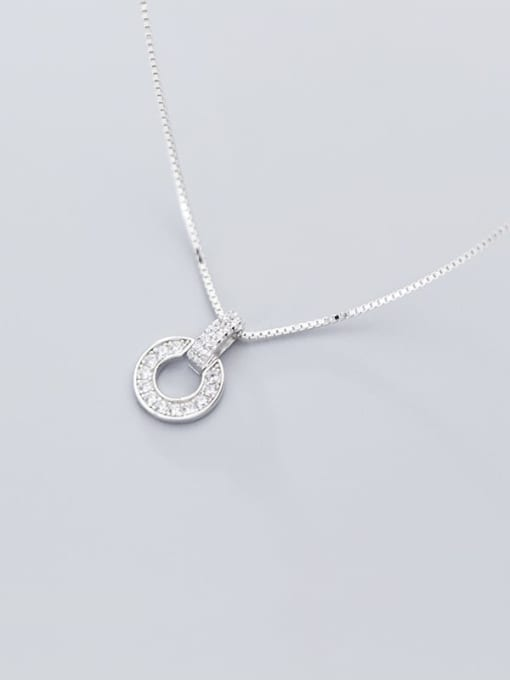 Rosh 925 Sterling Silver Cubic Zirconia Full Diamond Round Pendant  Necklace 3